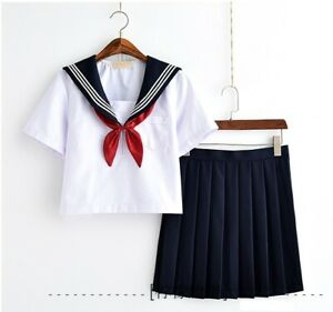 Japanese School Girls Summer Uniform Sailor Suit Blouse Pleated Skirt Seifuku
