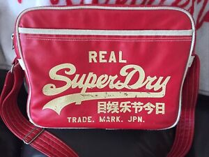 Superdry Red and Cream  Messenger/Cross Body Bag - Used