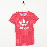 Vintage Women's ADIDAS ORIGINALS Big Trefoil Logo T Shirt Tee Pink | UK 10