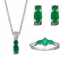 Ladies 925 Silver Necklace,Ring,Earrings Set with EMERALD GEMSTONE & WHITE TOPAZ