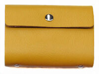 Yellow Credit Oyster Card Business ID Wallet Holder Genuine Real Leather GIFT