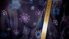 tissu jersey scuba facon neoprene fin gris fleurs 100x140 cm
