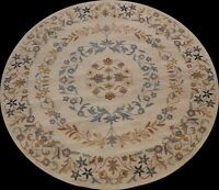 Floral Traditional Oriental Area Rug Hand-tufted BEIGE Wool Carpet 8'x8' Round