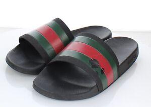 09-19  $210 Men's Sz 11 G Gucci Pursuit 72 Rubber Pool Slide Sandals In Black