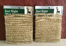 """2 Vintage Gold Mini 1/2"""" Loopy Christmas Tree Garland Velvet Touch Nos 36ft"""