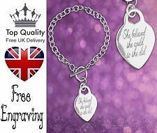 Personalised Heart Pendant Charm Engraved Name Bracelet Silver Jewellery Gift UK