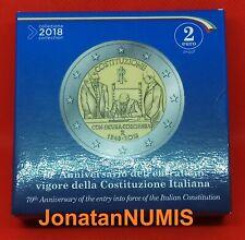 ITALIA 2018 2 EUROS CONM.  PROOF ESTUCHE OFICIAL - 70º CONSTITUCION ITALIANA- PP
