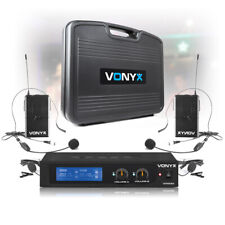 More details for 2 channel band vhf wireless microphone system with 2 bodypack headset vocal pa