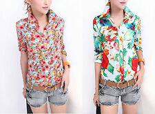 Unbranded Floral Collared Semi Fitted Women's Tops & Shirts
