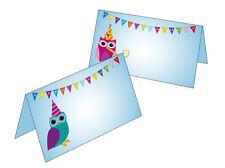 Happy Eule 10 Tischkarten Birthday Namenskarte Geschenkanhänger Eulen Geburtstag