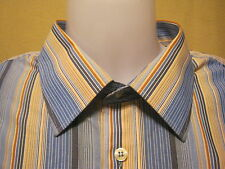 Vtg YSL/YVES SAINT LAURENT Mens Button Front Shirt XLB Big Long Sleeve,Striped