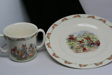 VINTAGE ROYAL DOULTON PLATE AND 2 HANDLED CUP