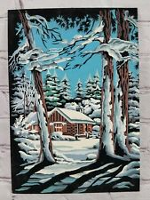 Vtg Mid Century PBN Paint By Number Velvet Cabin In Woods