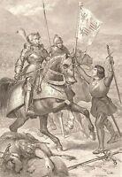 Ritter zu Pferd, Stahlstich um 1840 19,3 x 27,7cm Blatt 27 x 38,5 cm Ferorv