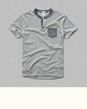 Men's ABERCROMBIE ~North Shore~ Short Sleeve Striped Henley Tee Shirt X-Large/XL
