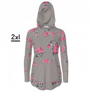 New Release LuLaRoe Amber Hoodie 2XL Gorgeous Gray With Pink Floral