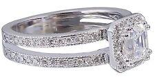14k White Gold Asscher Cut Diamond Engagement Ring Halo Deco Split Shank 1.55ctw