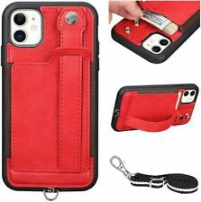 iPhone 11 Wallet Case Shockproof Leather Card Holder Luxury Cover Neck Strap Red