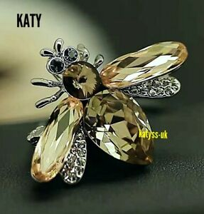 Vintage Pendant Art Deco Style Silver Gold Bumble Bee Big Crystal Brooch Gift