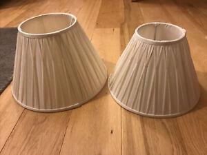 2 X Laura Ashley Cream Silk Lampshades- One Slightly Larger