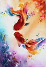 Two goldfish watercolor painting Red Fish painting Fish illustration