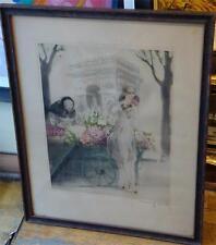 CLOSING STORE! IMPORTANT 1928 LOUIS ICART WOMAN FLOWER MARKET ARC TRIOMPHE PARIS