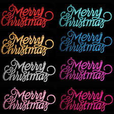 christmas decoration 3 pack glitter merry christmas signs choose colour
