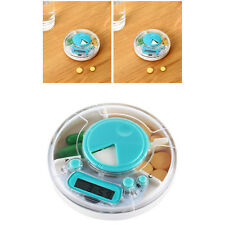 Weekly Digital Round Pill Box Timer Alarm Clock Reminder 7 Days Medicine Storage