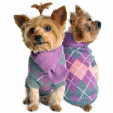 Lavender/Gray Argyle Plaid Sweater Scarf Set for Dogs size Small