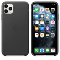 Apple iPhone 11 Pro Max Black Genuine Leather Thin Protective Phone Case