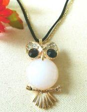 Necklace Pendant Women Men Large Owl Glittery Gold Tone US Seller NEW