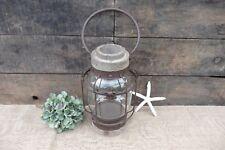Captains Hanging Wood w/ Glass Lantern Candle Holder ~ Nautical Beach Sea Decor