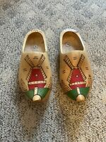 Size 43 Dutch Wood Shoes Holland CLOGS Hand Painted Windmill Ornament