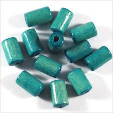 Lot de 50 Perles en Bois Tubes 6 x 10 mm Vert Turquoise