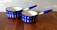 Pair of Beautiful Vintage Duco Enamelware Saucepans Pan Graniteware Blue Pattern