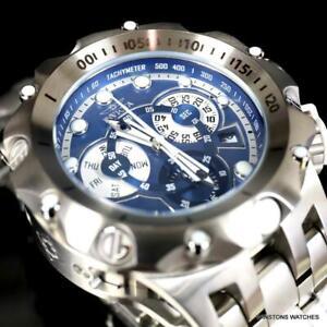 Invicta Venom Hybrid Swiss Mvt Blue Chronograph Stainless Steel Watch 52mm New