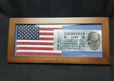 1952 Dwight Eisenhower Madison Square Garden Rally Ticket and Flag Framed