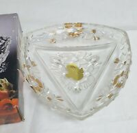 VINTAGE WALTHER GLASS 24 CARAT GOLD DECOR DISH – BOXED 18CM X 17.5CM - VERONICA