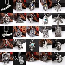 Unisex Stainless Steel Punk Animal Skull Fashion Knight Pendant Necklace Jewelry