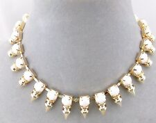 Gold Spikes With White Acrylic Collar Necklace Fashion Jewelry New Pretty!