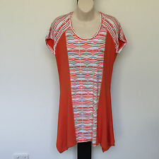 'MARCO POLO' SIZE 'S' ORANGE AND WHITE  CAP  SLEEVE TOP WITHTRAPEZE HEMLINE