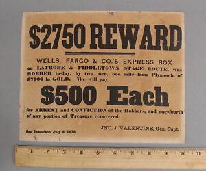 RARE Antique Authentic Western 1875 Wells Fargo Reward Poster Stagecoach Robbery