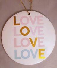 "Love Sign Pink Gold Ceramic Wall Art Decor 7.5""x7.5"" Valentine's Day"