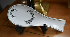 "Medici M 11"" bone china Spoon Rest Black & White floral Gorgeous"