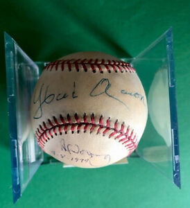 Hank Aaron - Al Downing signed Official baseball - GAI Certified - HISTORY !!