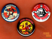 "Set of three 1"" vintage look Buck Rogers pins buttons Rocket Rangers Club"