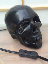 Black Skull w/Strobe Light Flashing From Eyes Halloween Haunted House PROP