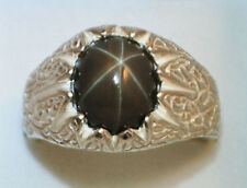12x10 mm Charcoal Grey LINDE STAR SAPPHIRE RING 925 STERLING SILVER SIZE 11