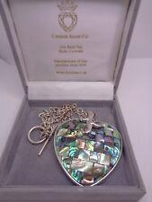 BOXED SILVER HEART PENDANT CORNISH STONE CO SHIPTON & CO PAUA SHELL WITH CHAIN