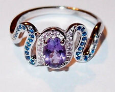 Amethyst and Simulated Gemstone ring in rhodium plated Sterling Silver, Size Q.